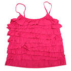 Hollister Womens Tank Top Cami Tiered Ruffles Adjustable Straps Seagull M V389