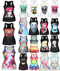 Womens 3D Graphic Printed Tee Tops Vest Blouses Gothic Punk Sleeveless T-Shirts