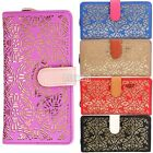 Women Gold Hollow Out Standard Hasp Long Pattern PU Leather Wallet Card Holder /