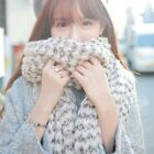 Lady winter Long Mohair wool white black soft warm Scarf  Vogue Wrap Shawl plaid