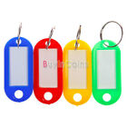 10/50X Plastic Key Ring ID Tags Name Card Label Fob Split Keychain Multi-colored