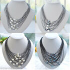 new fashion 11-13mm white black gray rice pearl gray/black leather necklace 20''