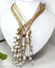Wholesale Nature White Rice FW Pearl Light Brown Leather Pendant Necklace 21''