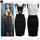 Womens Contrast Panel Ladies Celebrity Sleeveless Side Slit Pencil Bodycon Dress