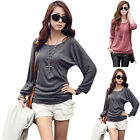 New Girl Women's T-Shirt Button Round Neck Bat Wing Sleeve Decorated Casual