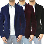 Mens Designer Swade Velvet Blazer Jacket Tailored Fit Tuxedo Smart Casual Coat