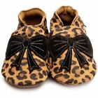 Inch Blue Girls Baby Luxury Leather Soft Sole Pram Shoes - Bow Leopard Print