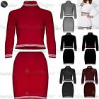 Womens Ladies Co-Ordinates Knitted Ribbed Polo Neck Crop Top Mini Skirts Set
