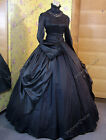 Gothic Victorian Black Gown Period Dress Theatre Reenactment Clothing Punk 156