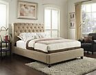 Modern Sleigh Bed Frame Bedroom Furniture Leather Upholstered Tufted Headboard