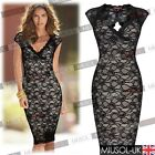 Black Women's Sexy Celeb Backless Ladies Lace Midi Party Bodycon Evening Dresses