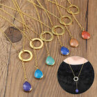 New Resin Gold Earrings Chain Circle Water Drop Charm Necklace Crystal Pendant