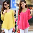 Womens Sexy Blouse Chiffon Pleated Shirt Long Sleeve Casual OL Career Tops
