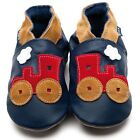 Inch Blue Boys Baby Luxury Leather Soft Sole Pram Shoes - Toot Train Navy Red