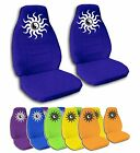 2 Front Flaming Yin Yang Velvet Seat Covers with 14 Color Options