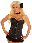 Black Buckled Brocade Steel Boned Plus Size Corset 5X and 6X fnt