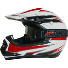 Leopard LEO-X16 Youth Child Kids Motocross MX Helme Burgendy/White & Goggles