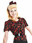 Collectif Lucille Cherry Blouse Vintage Retro Classic 50's Pin-up