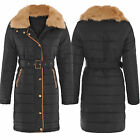 Womens Ladies Faux Fur Padded Stripes PU Leather Trim Quilted Parka Coat Jacket