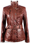 Nina Ladies New Chestnut Brown Soft Leather Rock Slim Fit Jacket Military Collar