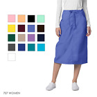 Внешний вид - Adar Women Medical Nurse Uniform Mid Calf Length Drawstring 2 Pocket Scrub Skirt