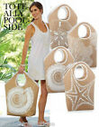 MUD PIE'S NATURAL JUTE SHORELINE NAUTICAL BEACH TOTE BAG SAND DOLLAR, CORAL+