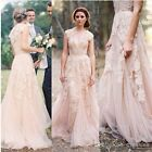 Wedding Dresses Vintage Lace Cap Sleeve Bridal Gowns Custom Size 2 4 6 8 10 12+