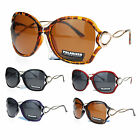 No Glare Polarized Womens Exposed Lens Metal Ribbon Arm Butterfly Sunglasses