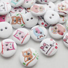 New 100/500pcs Owl Wood Buttons 18mm Sewing Craft Mix Lots Wholesales