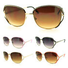 Womens Butterfly Style Squared Metal Sunglasses with Exposed Lens