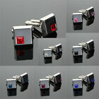 Stainless Steel Silver Crystal Business Shirt Cuff Link Vintage Gift 7 Color NEW