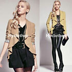 Casual Women Autumn Winter Asymmetric Drapped Leopard Cardigan Outwear Coat Y725