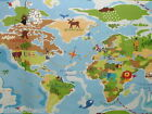 WORLD MAP ATLAS CHILDREN WIPE CLEAN PVC OILCLOTH TABLECLOTH CO click for sizes