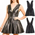 Women Pu Pleated Skater Leather Look Back Zip Dress Ladies Party Dress 8-14