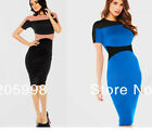 Spring Summer Women Patchwork Bodycon Evening Pencil Prom Party Tight Dress Y641