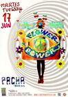 Flower Power Pacha Ibiza Club Poster Spiral Swirl White 17th June 2014 Wall art