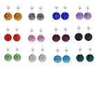 10Pairs Austria Crystal Disco Ball  Bead 925 Sterling Silver Stud Earrings 10MM