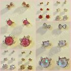 3 Pair Set Kitty Face Bow Stud Rhinestone Fashion Earrings 1 Set Choose Color
