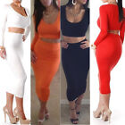 2Pieces Womens Bodycon Crop Tops and Skirt 1Set Summer Clubwear Pencil Pub Dress