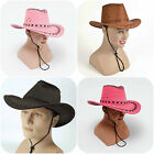 Cowboy Hat Stetson Stitched Adult Mens Womens Faux Suede Cowgirl Fancy Dress