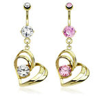 14kt Gold Plated Navel Ring w/Gem Hollow Heart Dangle,Pink,Clear, or Both(13163)