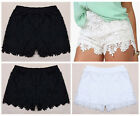 Cotton Crochet Tiered Scalloped Lace Mini Shorts Pants-S,M,L,