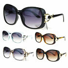 Womens Diva Luxury Metal Ribbon Jewel Hinge Oversize Butterfly Sunglasses