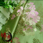 1 meter by the yard Green flower brocade tapestry satin Fabric Cosplay DIY 29""