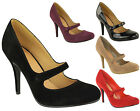 Ladies Women High Heel Stiletto Closed Toe Strap Sandals Office Court Shoes Size