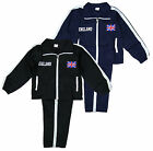 Boys England Flag Logo 2 Piece Sport Tracksuit Set Black Navy 5-14 Yrs NEW