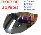 3 VISORS FOR Dual sport helmet dual purpose helmet CHOICE- CHROME, TINTED, CLEAR