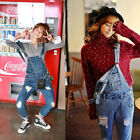 NEW Girls Lovely Denim Overall Suspender Jean Trousers Pants Ripped Jumpsuit US