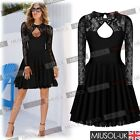 Women Backless Party Mni Short Tunic Evening Prom Cocktail Tea Lace Skater Dress