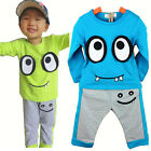 2015 Big Eyes Smile Kids Boys Long Sleeve Coat Pants Sets Cotton Outfits For 1-7